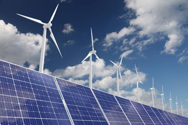 Wind turbine solar panel renewable energy Wind turbine solar panel renewable energy sustainable energy stock pictures, royalty-free photos & images