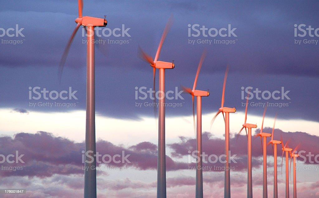 Wind Turbine Sunrise stock photo