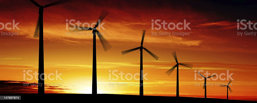 XXL wind turbine sunset royalty-free stock photo