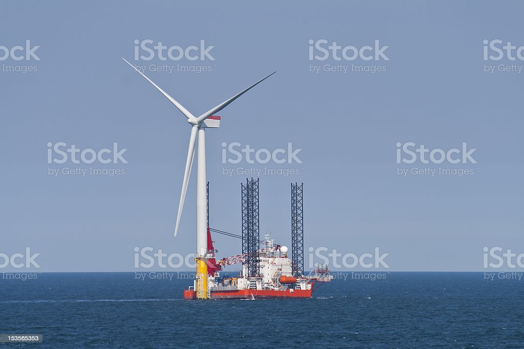 Wind turbine under construction royalty-free stock photo