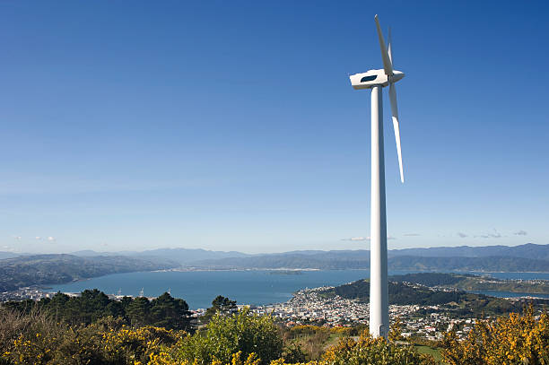 Wind Turbine, Wellington, New Zealand  wellington new zealand stock pictures, royalty-free photos & images