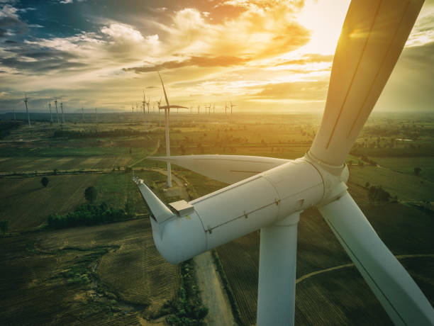 Wind Turbine, Wind Energy Concept. Wind turbine from aerial view. Sustainable development, environment friendly of wind turbine by giving renewable, sustainable, alternative energy. windmill stock pictures, royalty-free photos & images