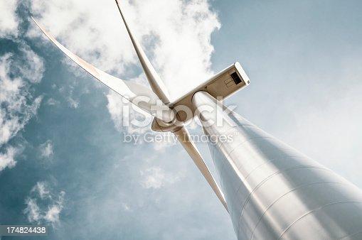 istock Wind turbine with blue gray sky 174824438
