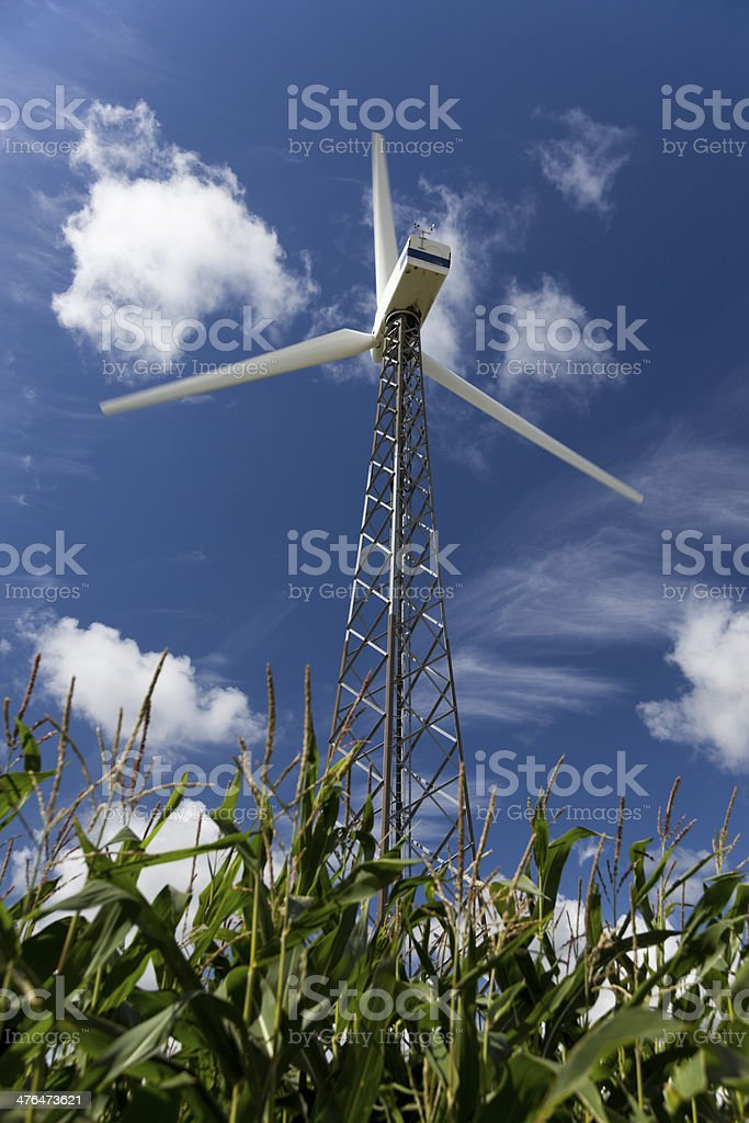 Wind Turbine With Blue Polarized Sky. Alternative Energy. royalty-free stock photo
