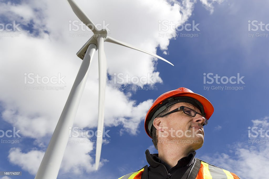 Wind Turbine Worker stock photo