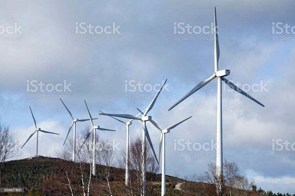 Wind turbines, alternative energy, environmental conservation. stock photo