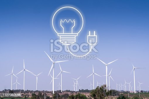 istock Wind turbines and agriculture fields,future power and clean energy,renewable electric enery production.wind energy converter farm.wind turbine mix with vector infographic. 1127060588