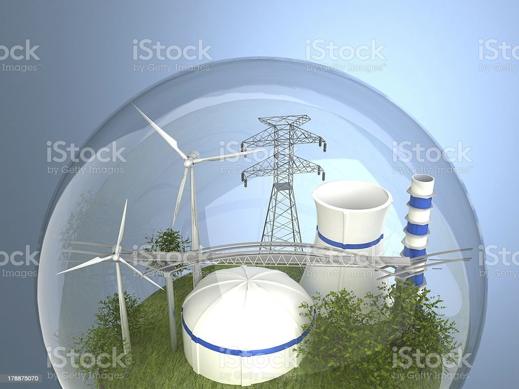 Wind turbines and atomic station in the bulb royalty-free stock photo