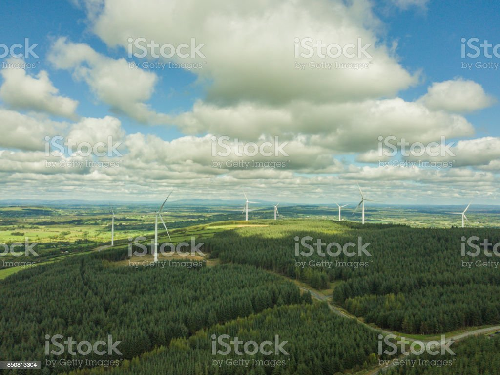 Wind Turbines and forest stock photo