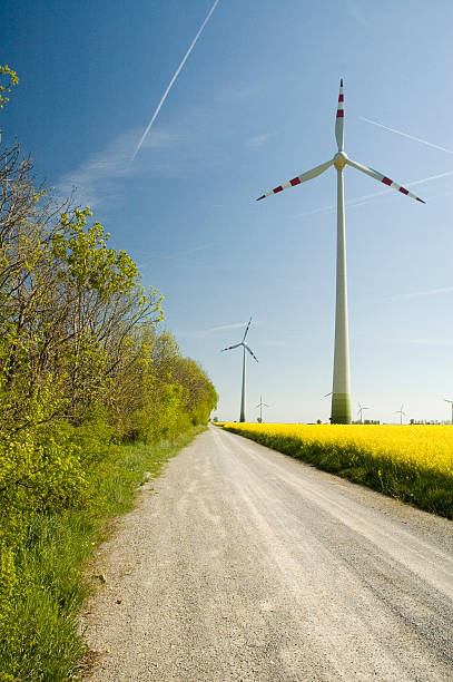 Wind turbines and rapeseed field  mahroch stock pictures, royalty-free photos & images