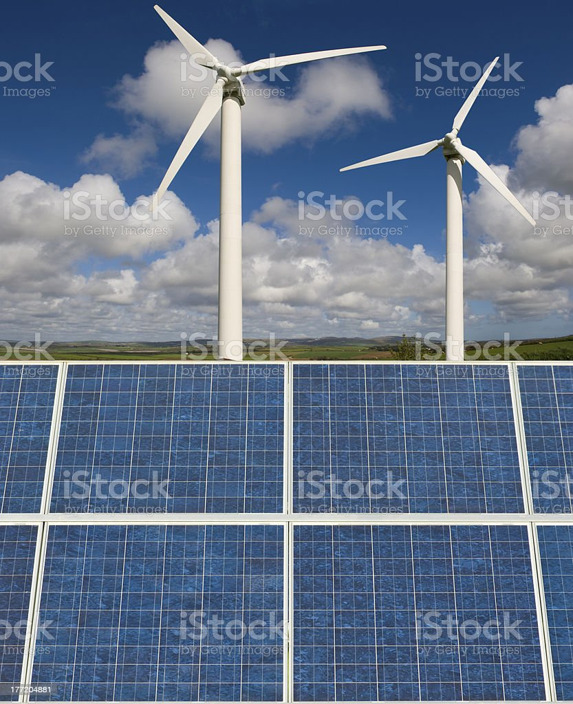 Wind turbines and solar panels. royalty-free stock photo