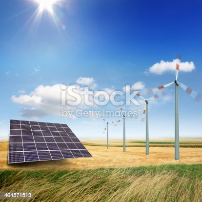 istock Wind turbines and solar panels 464571513