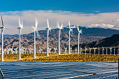 Wind farm with solar panels in southern California