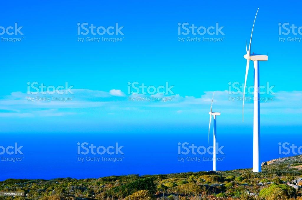 Wind turbines at a wind farm, Crete, Greece stock photo