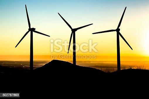 Wind turbines lit by morning's light.