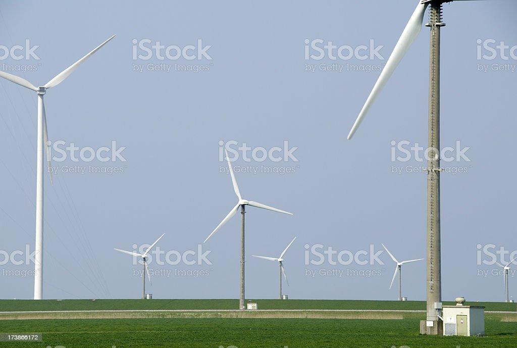 Wind Turbines at Groningen (Eemshaven) stock photo