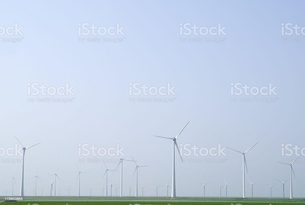 Wind Turbines at Groningen (Eemshaven, the Netherlands) stock photo
