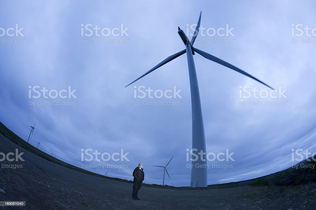 Wind Turbines At Night stock photo