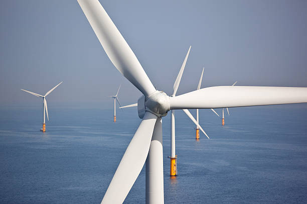 wind turbines at sea - windmolen stockfoto's en -beelden