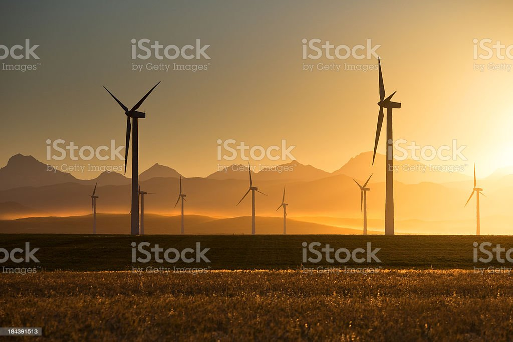 Wind Turbines at Sunset royalty-free stock photo