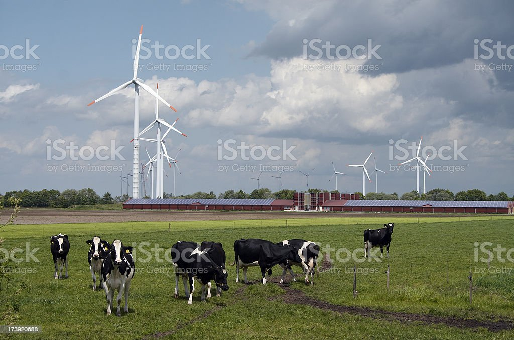 Wind turbines behind a modern farm with solar panels stock photo