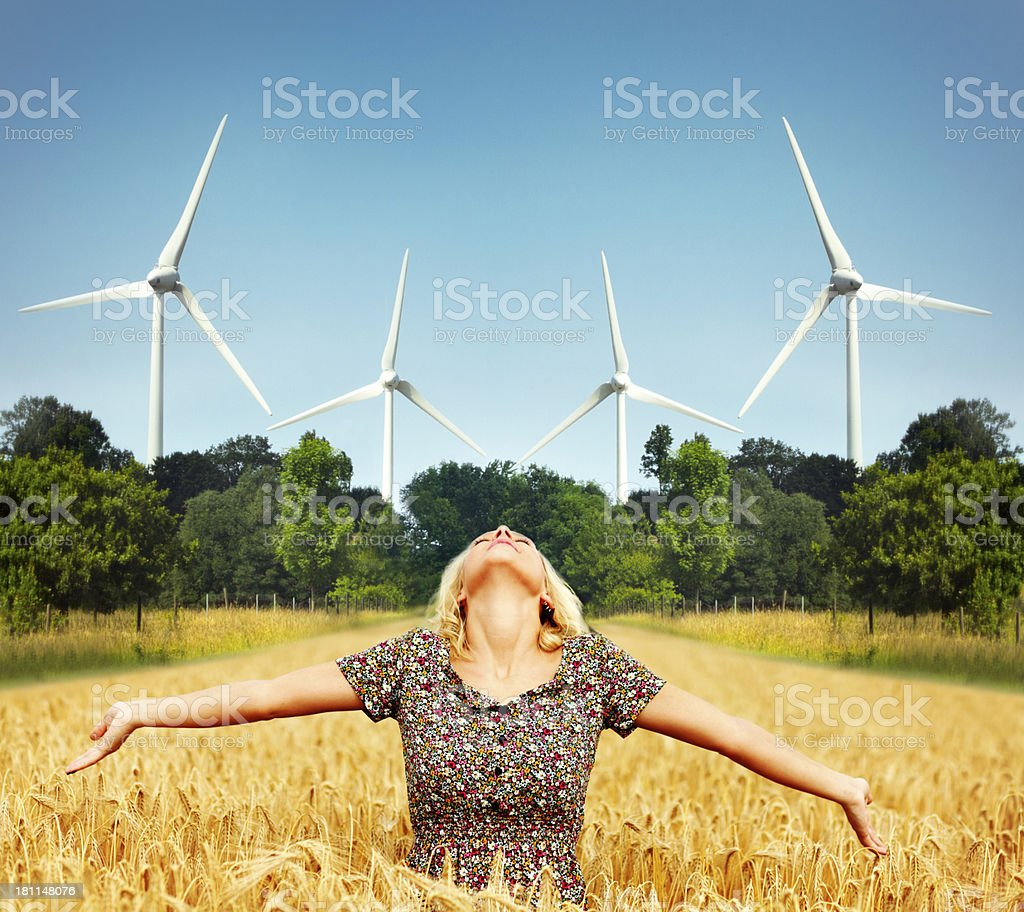 Wind turbines - clean energy royalty-free stock photo