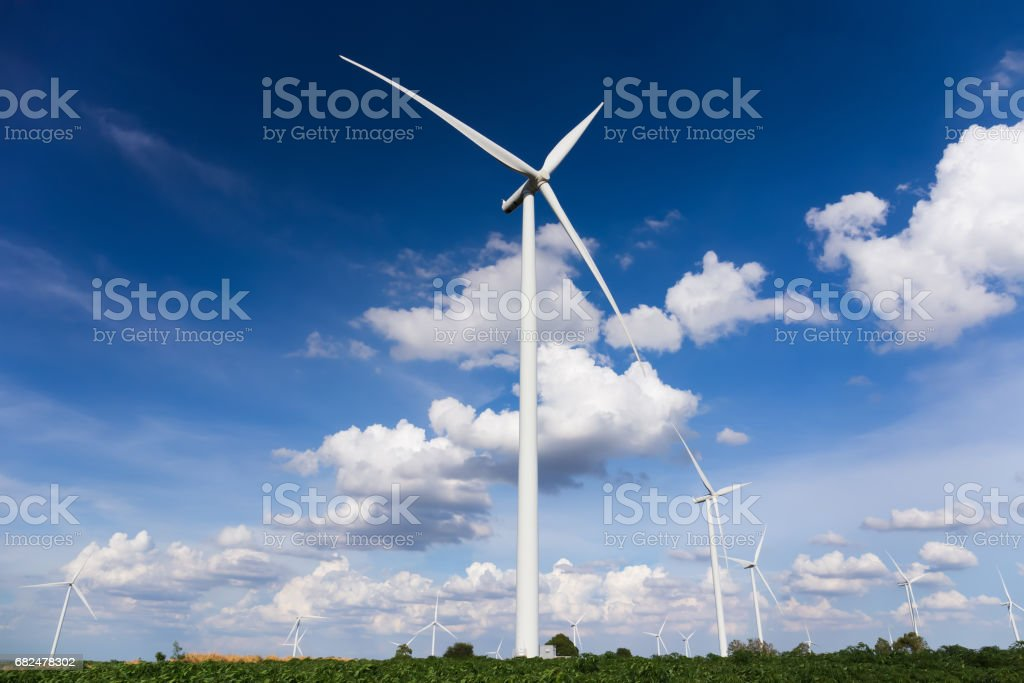 Wind turbines farm royalty-free stock photo