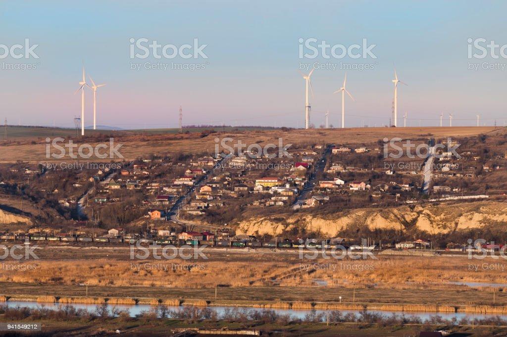 Wind turbines field stock photo