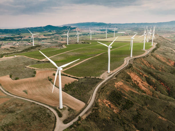 Wind turbines from above stock photo