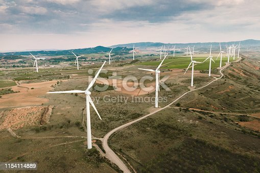 892160114 istock photo Wind turbines from above 1154114889