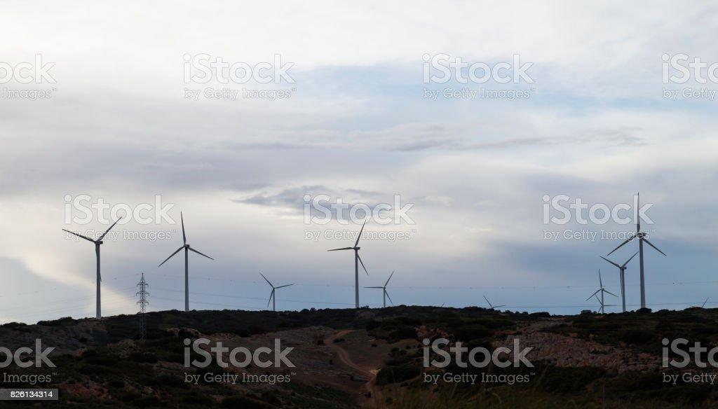 wind turbines generating eolic clean renewable power stock photo