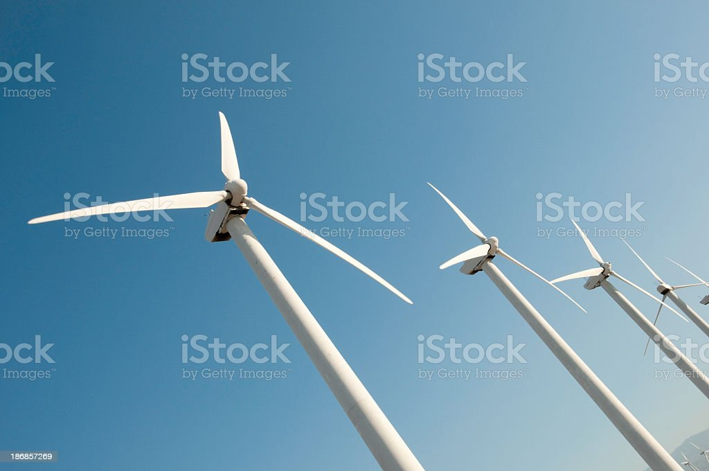 Wind Turbines in a Row royalty-free stock photo