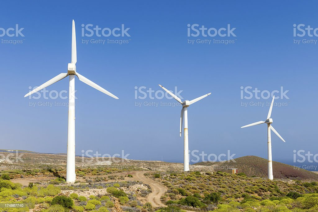 Wind Turbines in Landscape royalty-free stock photo