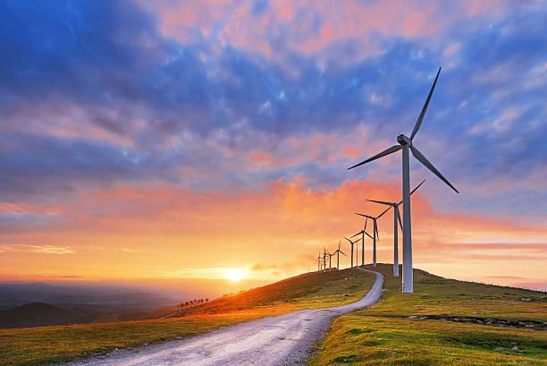 wind turbines in Oiz eolic park wind turbines in Oiz eolic park at sunset wind power stock pictures, royalty-free photos & images
