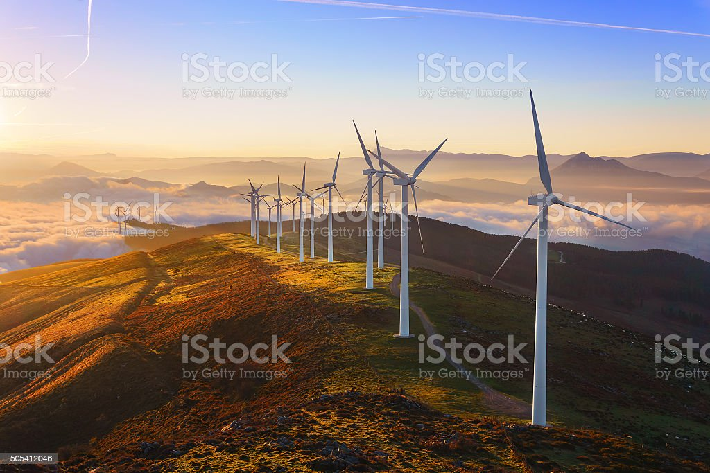 wind turbines in Oiz eolic park stock photo