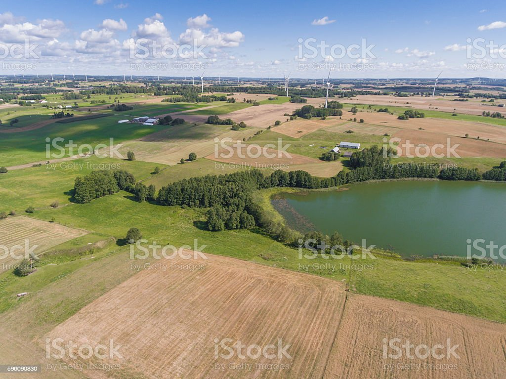 Wind turbines in Suwalki. Poland. View from above. Lizenzfreies stock-foto