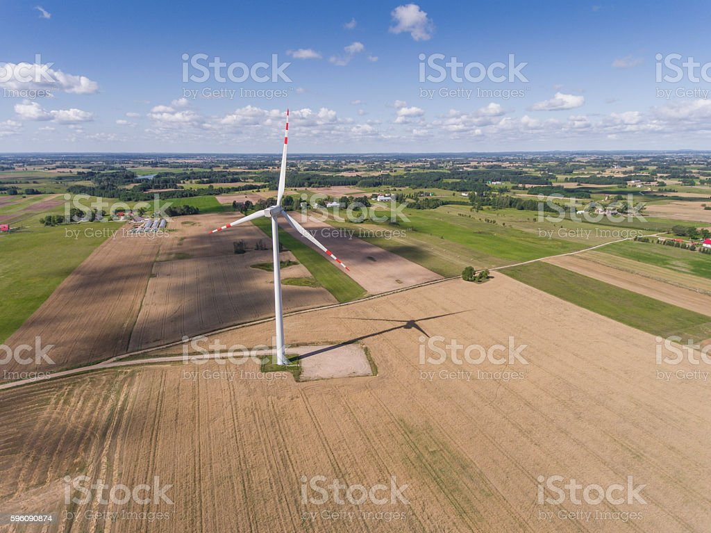 Wind turbines in Suwalki. Poland. View from above. royalty-free stock photo