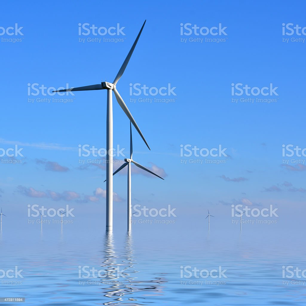 Wind turbines in the sea stock photo