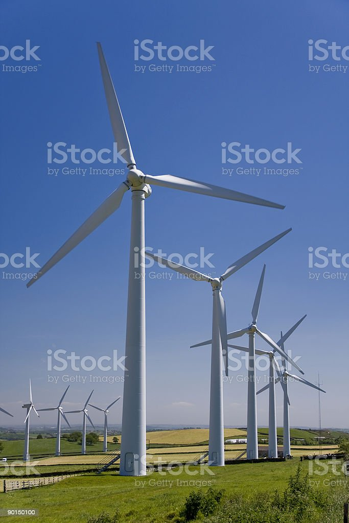 Wind turbines in windfarm royalty-free stock photo