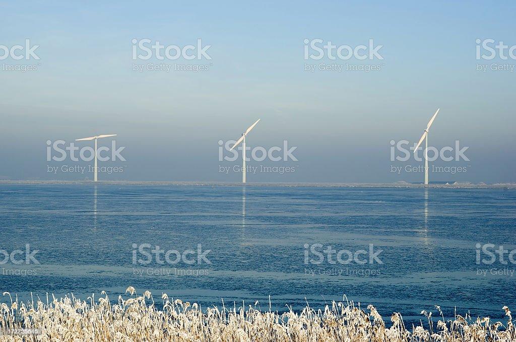 Wind Turbines in Winter Landscape (the Netherlands) stock photo