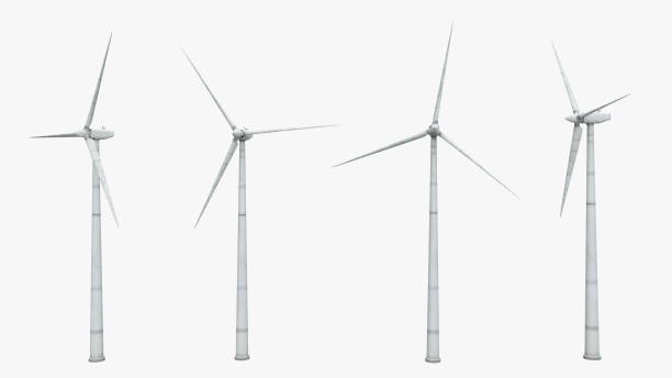 wind turbines isolated on white background - turbina a vento foto e immagini stock