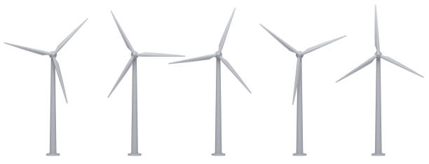 wind turbines isolated on white background. - mulino a vento foto e immagini stock