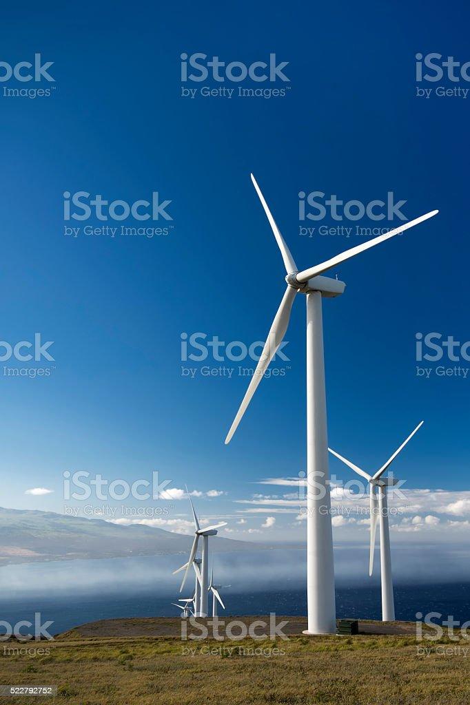 Wind turbines. Maui, Hawaii, USA stock photo
