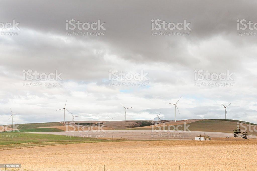 Wind turbines near Caledon stock photo