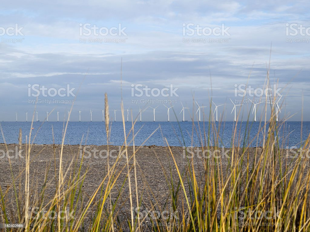 Wind turbines off the shore of Copenhagen royalty-free stock photo