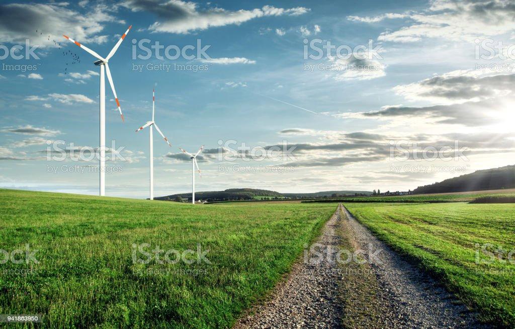 Wind turbines on a beautiful field stock photo