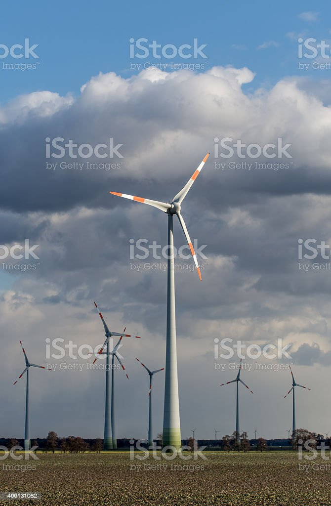 Wind Turbines on a cloudy day stock photo
