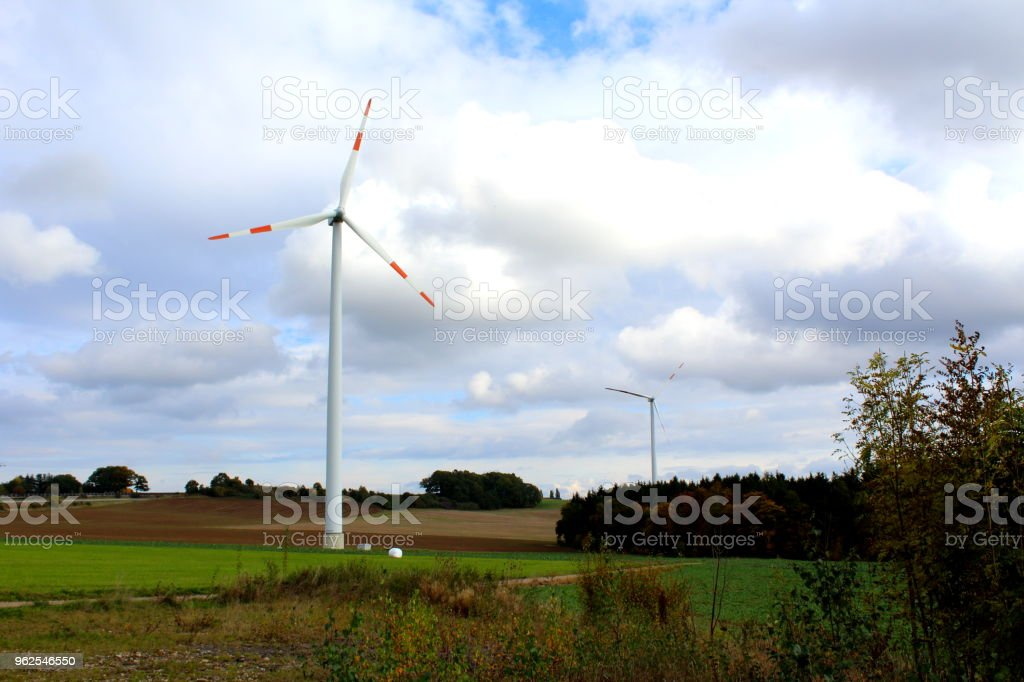 wind turbines on a field - Royalty-free Agricultural Field Stock Photo
