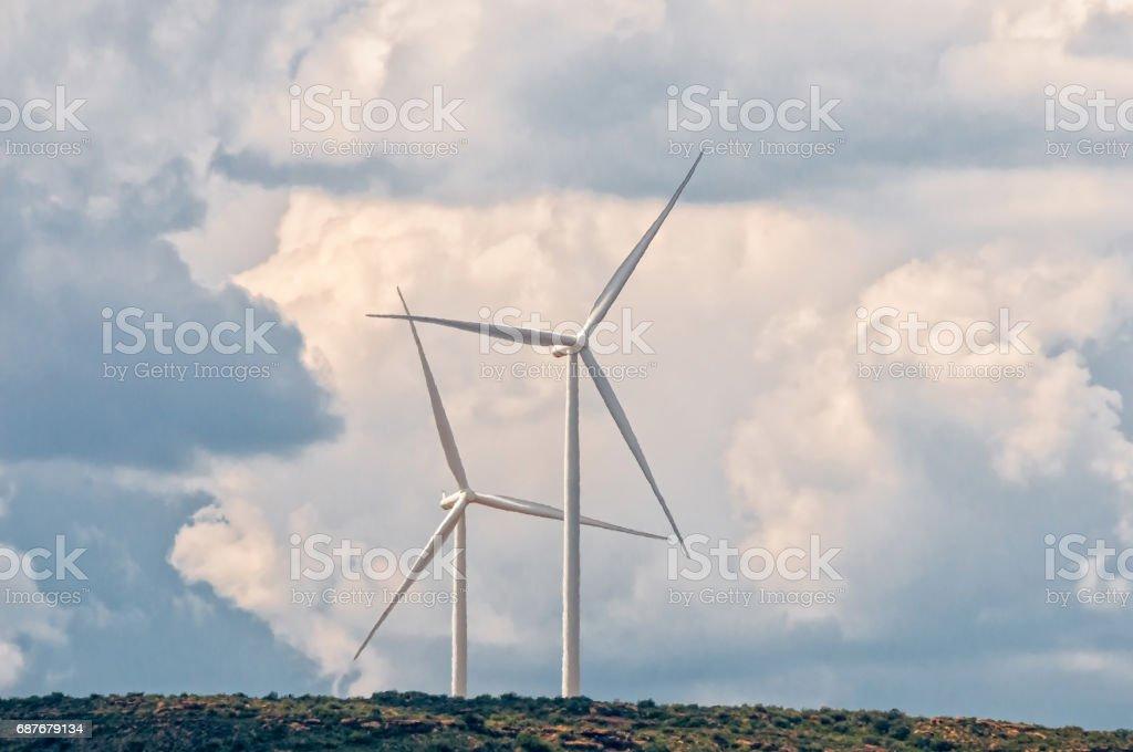 Wind turbines on a mountain near Noupoor stock photo