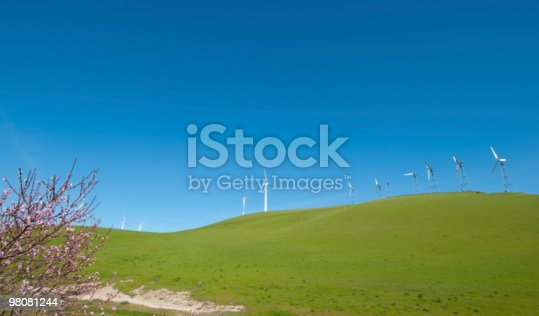 Wind Turbines On Green Hills Stock Photo & More Pictures of Bud